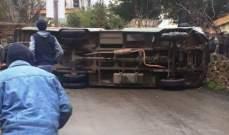 إصابة 4 طلاب جراء انقلاب حافلة كانت تنقلهم على طريق زبدين- النبطية