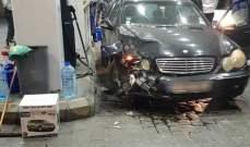 النشرة: سيارة تجتاح محطة لبيع الوقود في صيدا ولا اصابات