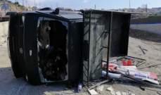النشرة: انقلاب شاحنة على اوتوستراد الحاج أحمد نجيب الشماع في صيدا