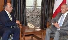 بري التقى نائب رئيس مجلس النواب الاردني وغسان مخيبر