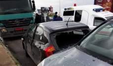 النشرة: 4 جرحى في حادث سير بين شاحنة وسيارة في الرميلة شمال صيدا