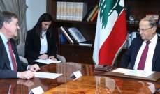 الرئيس عون عرض مع ساترفيلد للعلاقات اللبنانية- الأميركية والأوضاع الراهنة