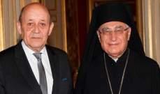 البطريرك العبسي التقى وزير خارجية فرنسا: للتعاون من اجل صناعة السلام