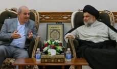 الصدر شدد خلال استقباله علاوي على ضرورة الإسراع بتشكيل الحكومة العراقية