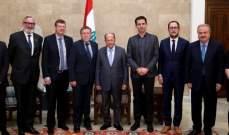 الرئيس عون عرض مع رئيس مجلس النواب البلجيكي العلاقات الثنائية