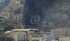 فوج اطفاء مدينة بيروت يتدخل لمؤازرة الدفاع المدني باخماد حريق المكلس