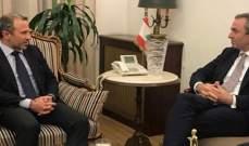 سفير بريطانيا التقى باسيل: نحرص على التزام الحكومة الجديدة بسياسة النأي بالنفس