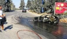 إحتراق سيارة على طريق فرعية من أوتوستراد شكا قرب جسر كفريا والأضرار مادية