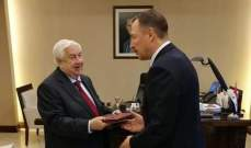 المعلم تسلم نسخة عن أوراق اعتماد سفير روسيا بسوريا وبحثا بالعلاقات الاستراتيجية الثنائية