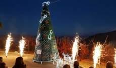 وقفة تضامنية مع القدس في اضاءة شجرة الميلاد في مشغرة