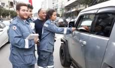 النشرة: الصليب الأحمر اقام حواحز لتوعية السائقين في النبطية