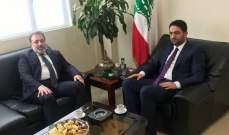القواس يلتقي الغريب: عودة النازحين لديارهم أولوية وطنية لبنانية