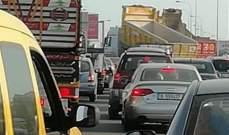 """""""اليازا"""": إقفال طريق وادي الزينة من قبل الشاحنات"""