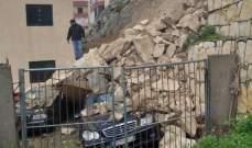 انهيار حائط في منطقة الأبراج في بلدة برج الشمالي