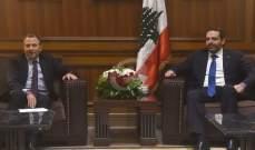 مصادر باسيل للجمهورية: اللقاء مع الحريري أعاد إنتاج التسوية من جديد