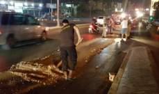 قوى الامن: تسرب مادة المازوت في محلة أوتوستراد الأسد باتجاه جسر الكولا