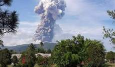 ثوران بركان جبل سوبوتان في جزيرة سولاويسي الإندونيسية