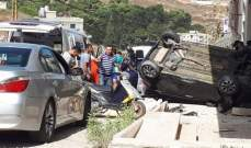 تدهور سيارة في نزلة طريق شوكين - النبطية ونجاة السائق
