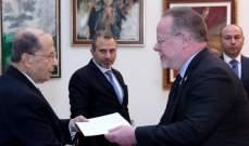 الرئيس عون تسلم أوراق اعتماد سفير جمهورية ايرلندا
