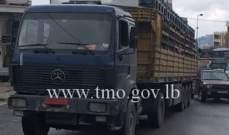 انزلاق شاحنة على اوتوستراد عاليه باتجاه بحمدون والاضرار مادية
