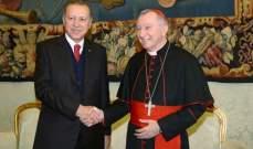 أردوغان عقد اجتماعا مغلقا مع رئيس وزراء الفاتيكان استمر لأكثر من ساعة