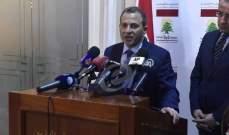 باسيل: على المجتمع الدولي الكف عن تشجيع السوريين للبقاء في لبنان