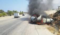 التحكم المروري: احتراق سيارة على اوتوستراد القلمون طرابلس