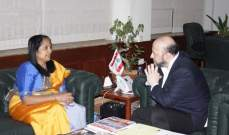 الرياشي التقى سفيرة سيري لانكا وبحثا في العلاقات الثنائية