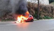 النشرة: احتراق سيارة عند مثلث مستشفى بنت جبيل بسبب احتكاك كهربائي