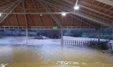 النشرة: فيضان نهر العاصي على المنتزهات المحيطة بسبب كثافة الأمطار