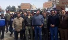 اعتصام لموظفي وعمال البلديات عند مدخل مدينة بعلبك الجنوبي