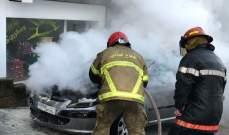 الدفاع المدني:إخماد حريق داخل سيارة في قرنة شهوان-البياضة والأضرار مادية