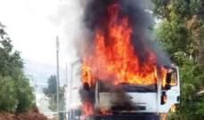 اخماد حريق في آلية نقل نفايات في المنية والبلدية تحركت لتأمين البديل