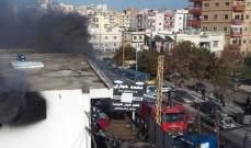 حريق في أحد المحلات في المدينة الصناعية بصيدا