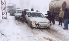 طريق ترشيش زحلة مقطوعة امام جميع المركبات بسبب تكون طبقة من الجليد