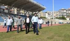 شبيب تفقد سير الأعمال في ملعب بيروت البلدي
