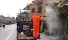 النشرة: حملة تعقيم وتشديد في إجراءات الوقاية في بلدة عين قنيا بحاصبيا