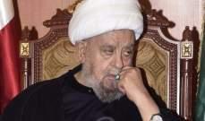 الشيخ قبلان إستنكر الغارات الإسرائيلية على سوريا وإنتهاكها الاجواء اللبنانية