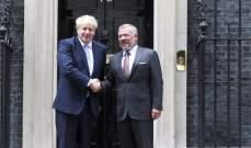 ملك الأردن أكد خلال لقائه رئيس وزراء بريطانيا ضرورة إيجاد حل سياسي للأزمة السورية