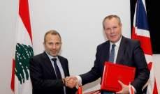 باسيل وقع مع وزير التجارة البريطاني اتفاقيات ثنانية بين لبنان وبريطانيا