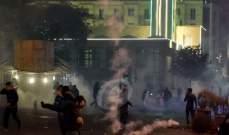 رمي مفرقعات باتجاه القوى الامنية في وسط بيروت واحتجاجات بصفوف المتظاهرين على ذلك