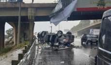 النشرة: جريح نتيجة انقلاب سيارة من جسر الضبية وسقوطها على الأوتوستراد