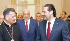 مصادر الشرق الاوسط: لقاء الحريري والراعي لم يهدف للالتفاف على عون ومحاصرته