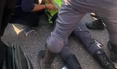 اصابة عنصر من قوى الأمن بحادث صدم على اوتوستراد جل الديب