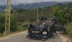إصابة شخصين بجروح إثر إنزلاق سيارة وانقلابها بطريق الكفير بحاصبيا