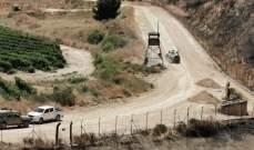 النشرة: قوة اسرائيلية مشطت الطريق العسكري المحاذي للجدار الحدودي