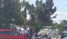 النشرة: إنقلاب سيارة في حادث سير مروع عند دوار الحسبة في صيدا