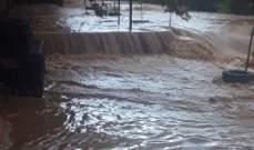 النشرة: فيضان مياه الوزاني على ضفافه نتيجة كثافة الامطار