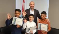 جريصاتي منح شهادات تقدير لـ3 غواصين صغار لمشاركتهم بتنظيف أعماق جزيرة صيدا