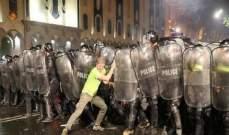 240 جريحا في الصدامات ليلا بين المتظاهرين والشرطة في العاصمة الجورجية